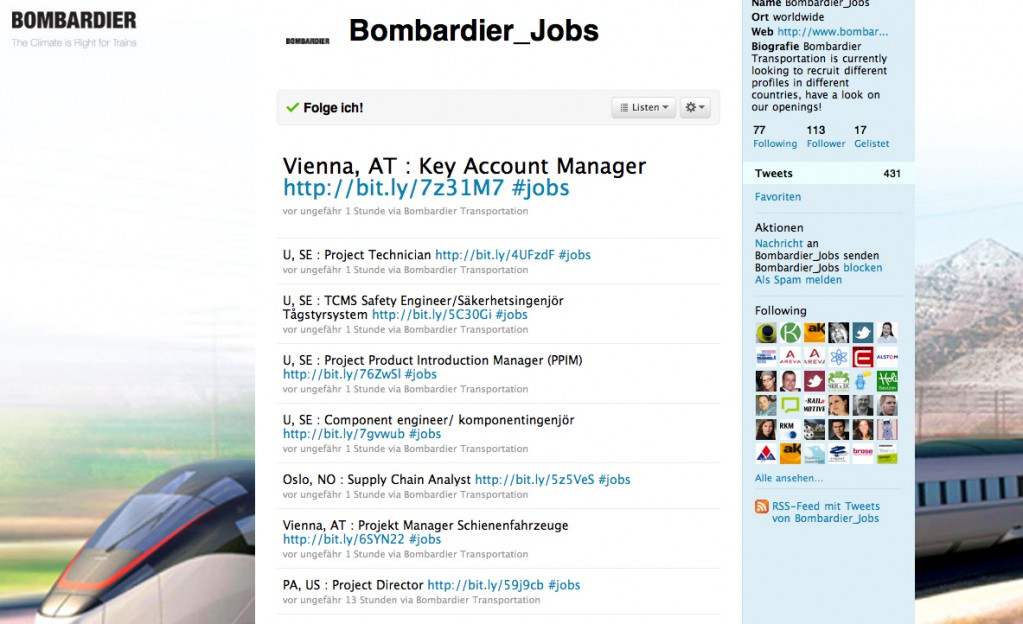 Bombardier twitterte internationale Jobangebote
